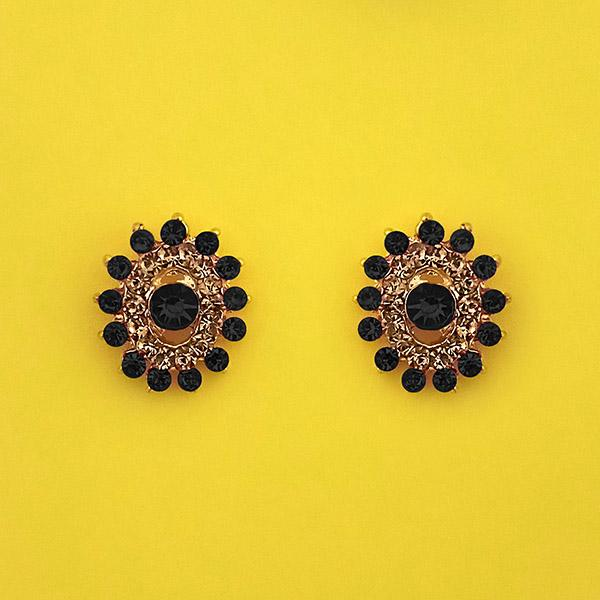 Kriaa Black Austrian Stone Gold Plated Stud Earrings - 1313851D