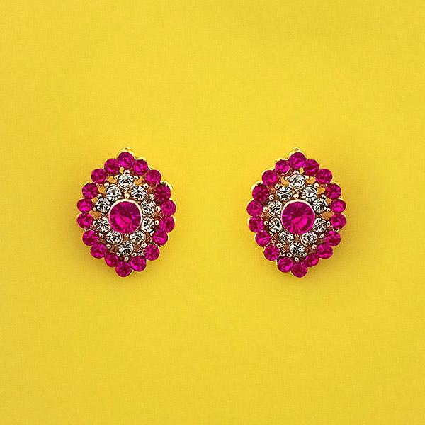 Kriaa Pink Austrian Stone Gold Plated Stud Earrings - 1313852C