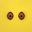 Kriaa Maroon Austrian Stone Gold Plated Stud Earrings - 1313853I
