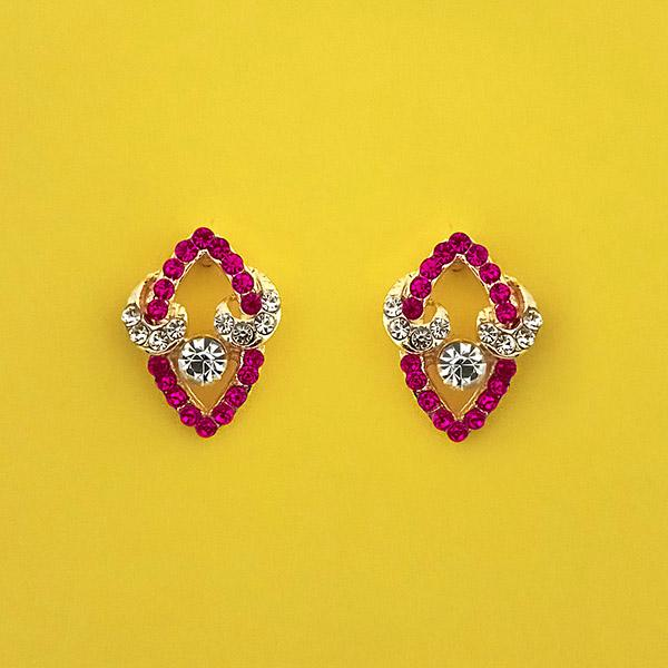 Kriaa Pink Austrian Stone Gold Plated Stud Earrings - 1313854C