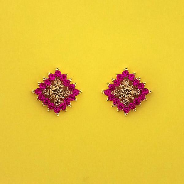 Kriaa Pink Austrian Stone Gold Plated Stud Earrings - 1313855C