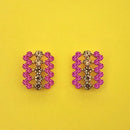 Kriaa Pink Austrian Stone Gold Plated Stud Earrings - 1313857D