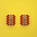 Kriaa Red Austrian Stone Gold Plated Stud Earrings - 1313857H