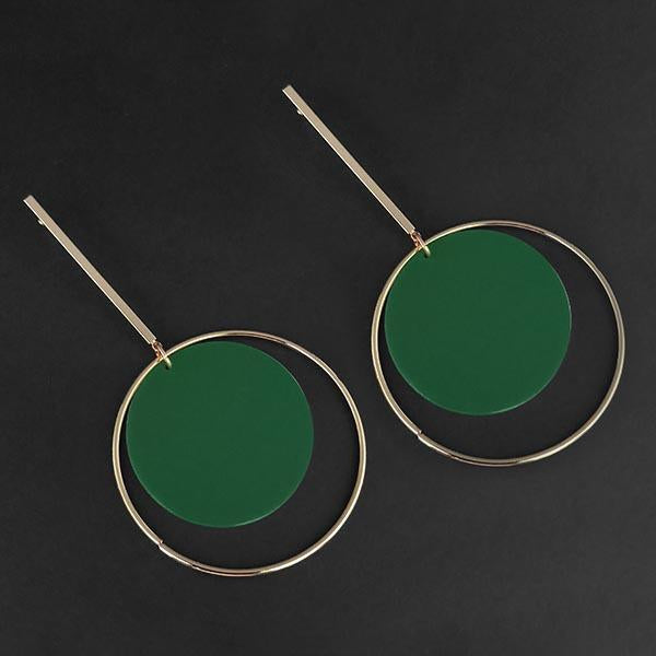 Urthn Green Acrylic Dangler Earrings - 1314004B