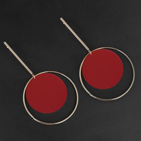 Urthn Red Acrylic Dangler Earrings - 1314004C