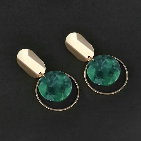 Urthn Green Acrylic Dangler Earrings - 1314008E