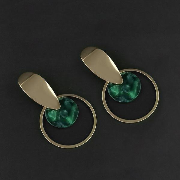 Urthn Green Acrylic Dangler Earrings - 1314010E