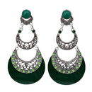 Urthn Green Acrylic Rhodium Plated Dangler Earrings