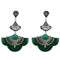 Urthn Rhodium Plated Green Stone Dangler Earrings