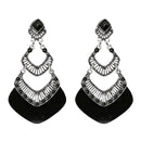 Urthn Black Acrylic Stone Dangler Earrings