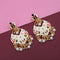 Native Haat White Meenakari Kundan Gold Plated Dangler Earrings - N1314201E