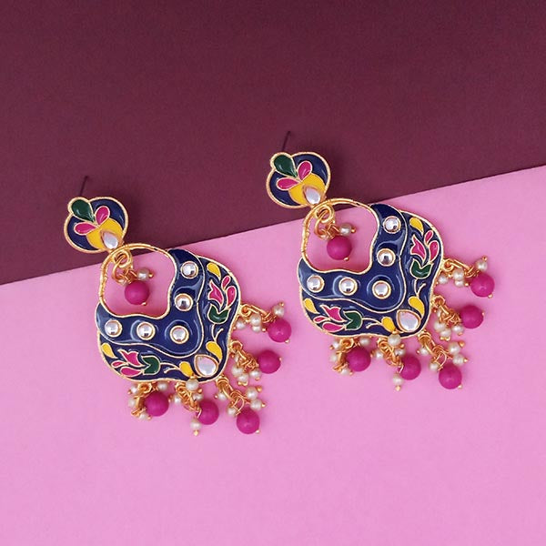Kriaa Gold Plated Blue Meenakari Kundan Dangler Earrings