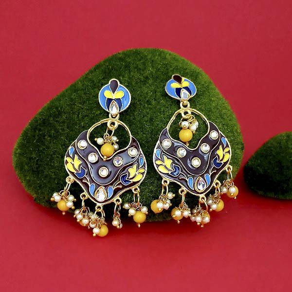 Native Haat Gold Plated Kundan Multi Meenakari Dangler Earrings - N1314201G