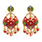 Kriaa Austrian Stone Red Meenakari Dangler Earrings