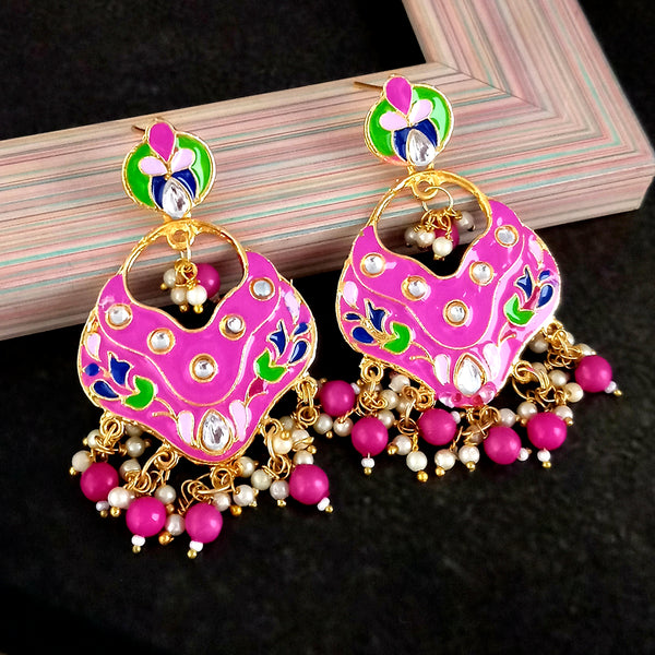 Kriaa Austrian Stone Pink Meenakari Dangler Earrings