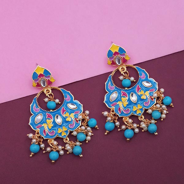 Kriaa Blue Meenakari Kundan Gold Plated Dangler Earrings