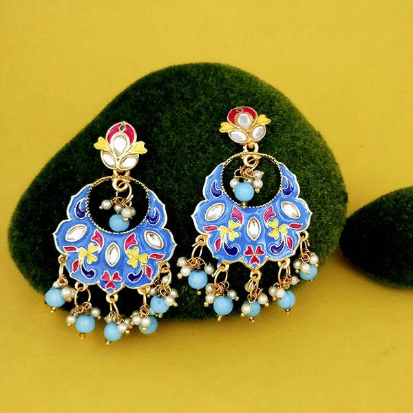 Native Haat Blue Meenakari Kundan Gold Plated Dangler Earrings - N1314202A
