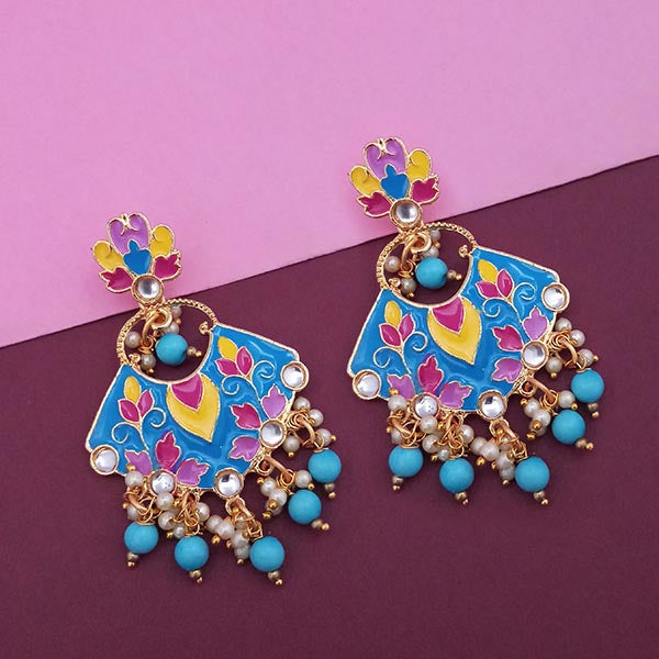Kriaa Meenakari Kundan Gold Plated Dangler Earrings