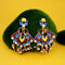 Kriaa Brown Meenakari Kundan Dangler Earrings