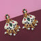 Kriaa White Meenakari Kundan Gold Plated Dangler Earrings