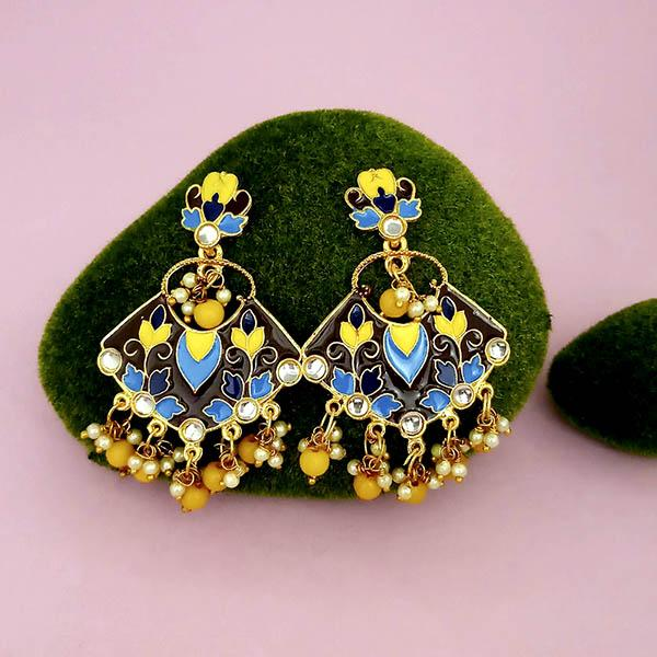 Native Haat Gold Plated Kundan Multi Meenakari Dangler Earrings - N1314204G