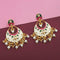 Kriaa White Meenakari And Beads Kundan Dangler Earrings - 1314205E - N1314205E