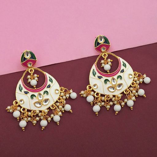 Kriaa White Meenakari And Beads Kundan Dangler Earrings