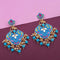 Kriaa Blue Meenakari Kundan Gold Plated Dangler Earrings - N1314206A