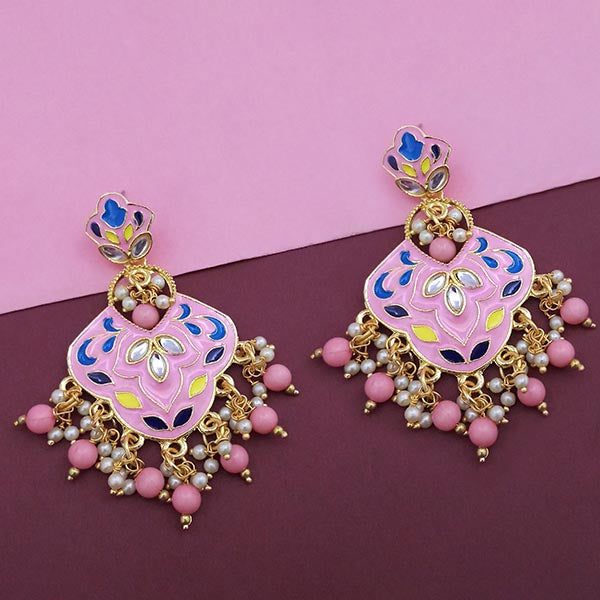 Kriaa Pink Meenakari Kundan Dangler Earrings