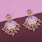 Kriaa Pink Meenakari Kundan Dangler Earrings - N1314206C