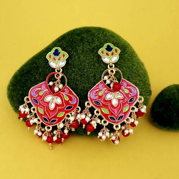 Kriaa Gold Plated Red Meenakari Kundan Dangler Earrings - N1314206E