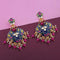 Kriaa Purple Meenakari Kundan Gold Plated Dangler Earrings - N1314206F
