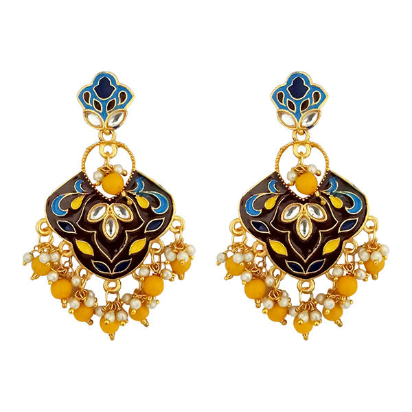 Kriaa Gold Plated Kundan Multi Meenakari Dangler Earrings