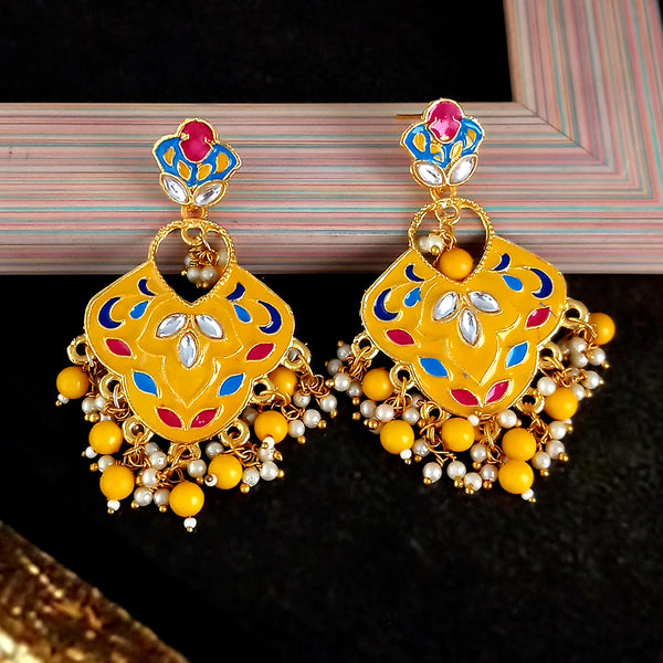 Kriaa Austrian Stone Yellow Meenakari Dangler Earrings