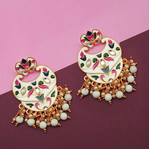 Kriaa White Meenakari And Beads Kundan Dangler Earrings - N1314207E