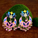 Kriaa Pink Meenakari And Beads Kundan Dangler Earrings