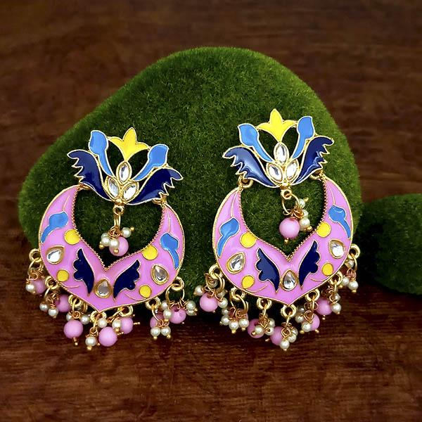 Native Haat Pink Meenakari And Beads Kundan Dangler Earrings - N1314208C