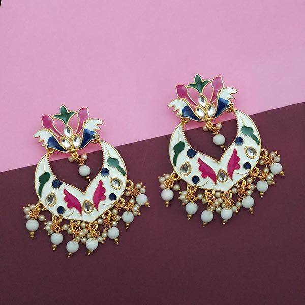 Native Haat White Meenakari And Beads Kundan Dangler Earrings - N1314208E