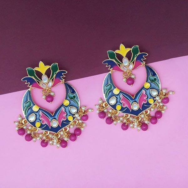 Kriaa Blue Meenakari Kundan Dangler Earrings - N1314208F