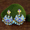 Native Haat Blue Meenakari And Beads Kundan Dangler Earrings - N1314210A