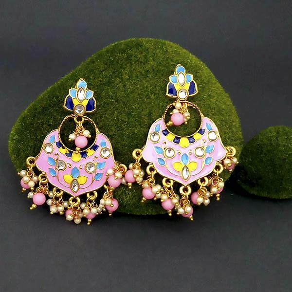 Native Haat Meenakari And Beads Kundan Dangler Earrings - N1314210C