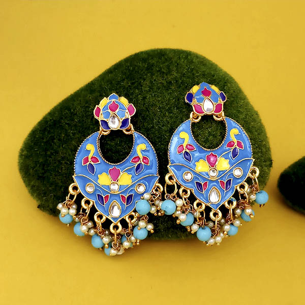 Kriaa Blue Meenakari And Beads Kundan Dangler Earrings