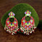Native Haat Red Meenakari And Beads Kundan Dangler Earrings - N1314212D