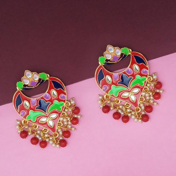 Kriaa Red Meenakari And Beads Kundan Dangler Earrings