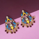 Kriaa Brown Meenakari And Beads Kundan Dangler Earrings
