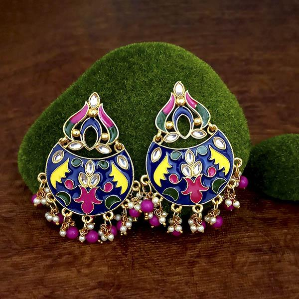 Native Haat Blue Meenakari And Beads Kundan Dangler Earrings - N1314215F