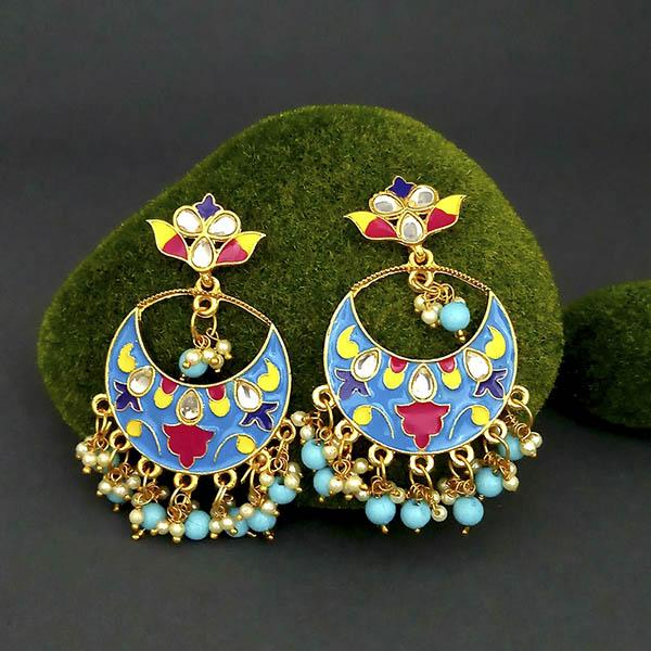 Native Haat Blue Meenakari And Beads Kundan Dangler Earrings - N1314216A