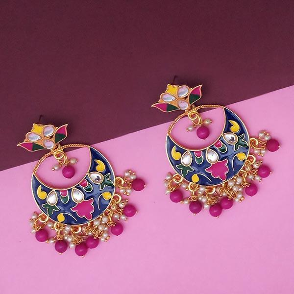 Kriaa Blue Meenakari And Beads Kundan Dangler Earrings - N1314216F