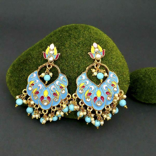 Native Haat Blue Meenakari And Beads Kundan Dangler Earrings - N1314218A