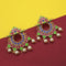Kriaa Pink Meenakari And Pearl Dangler Earrings